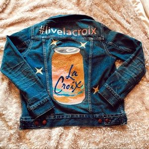 La Croix water embroidered jean jacket